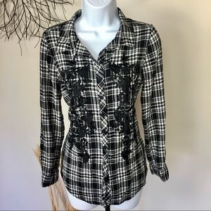 Floral embroidered plaid button down Westport 1962